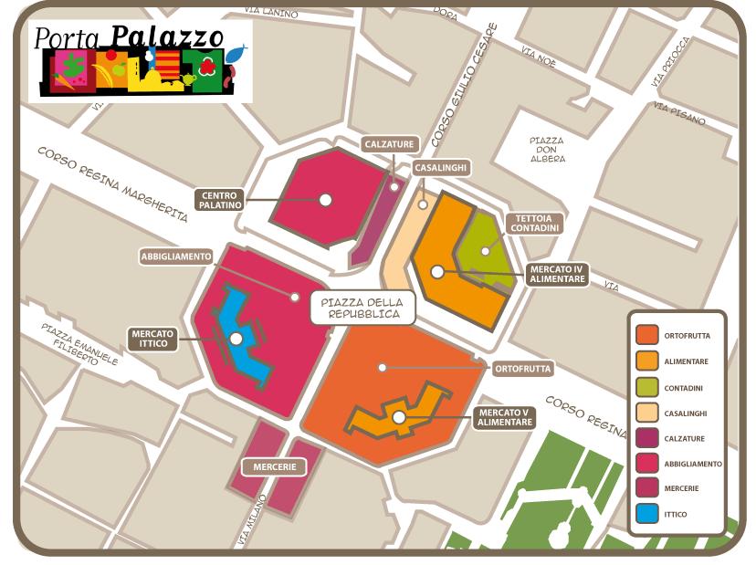 Il mercato del mercato di Porta Palazzo a Torino